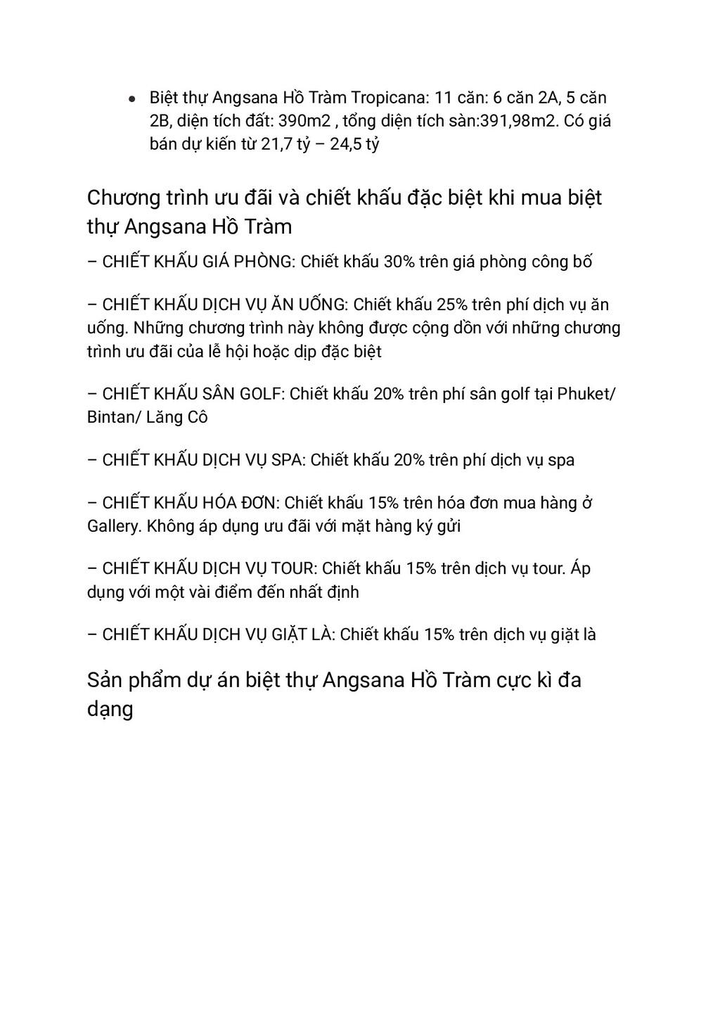 ● Biệt thự Angsana Hồ Tràm Tropicana: 11 căn: 6...