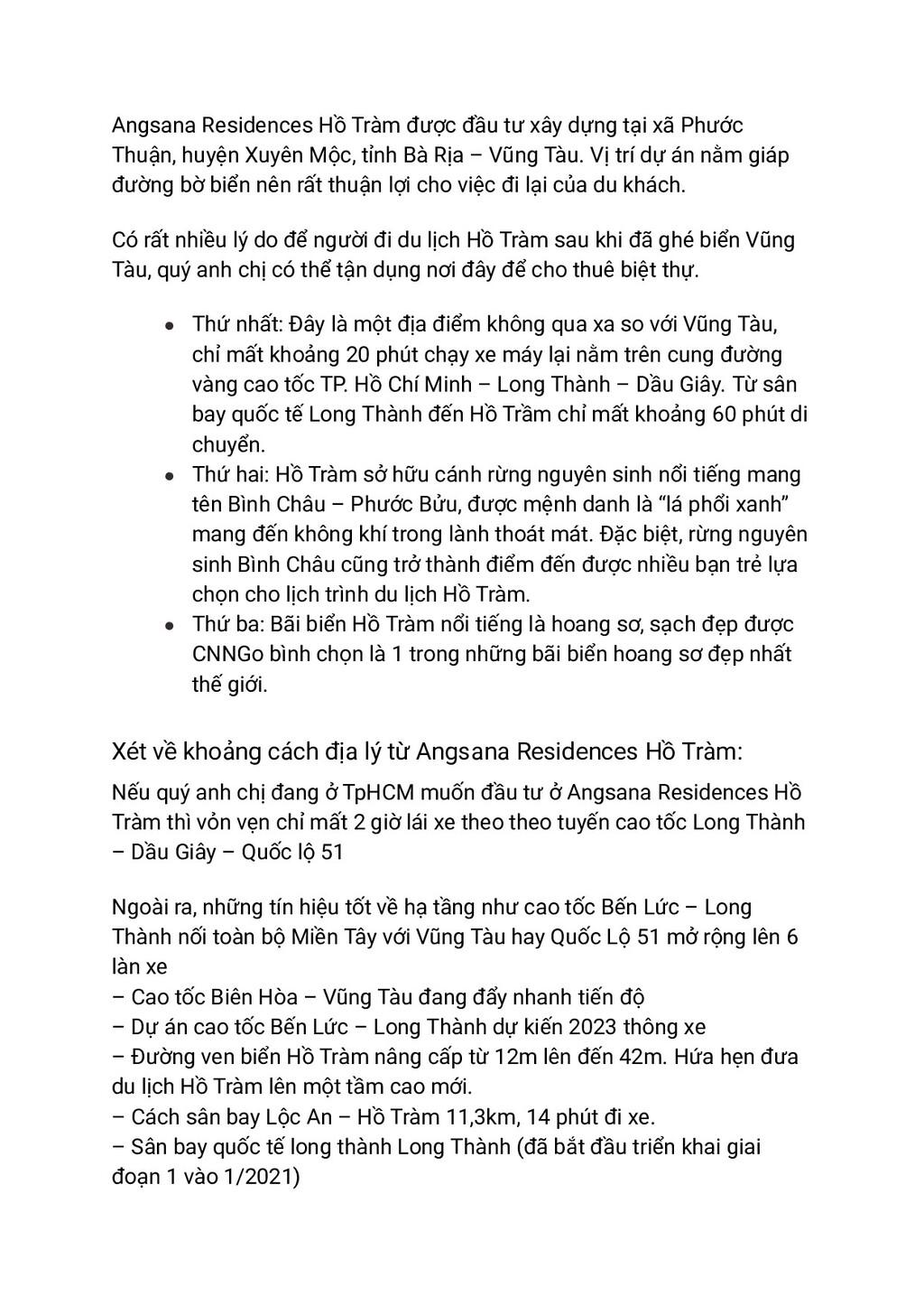 Angsana Residences Hồ Tràm được đầu tư xây dựng...