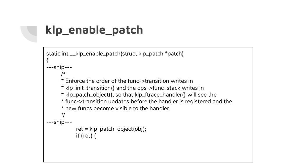 klp_enable_patch static int __klp_enable_patch(...