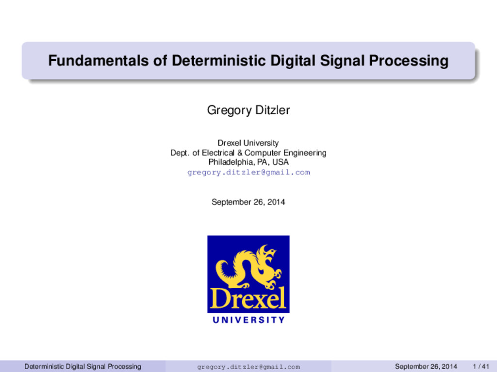 Fundamentals of Deterministic Digital Signal Pr...
