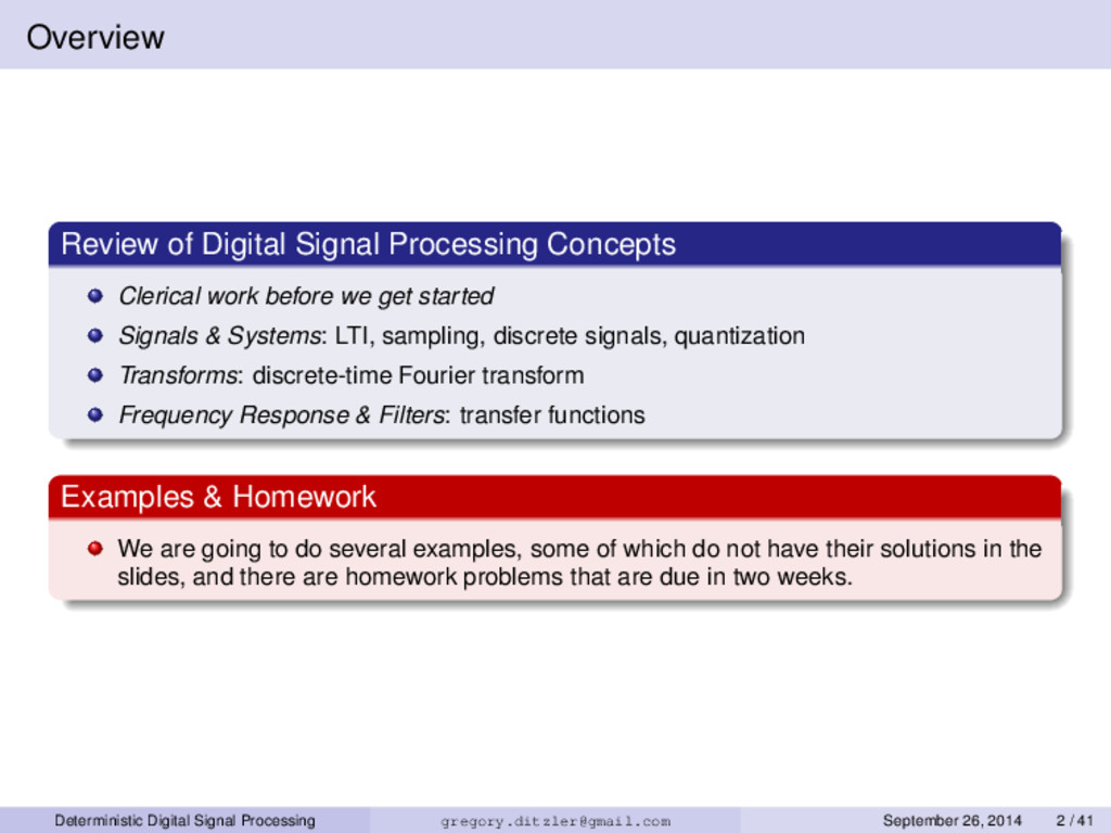 Overview Review of Digital Signal Processing Co...