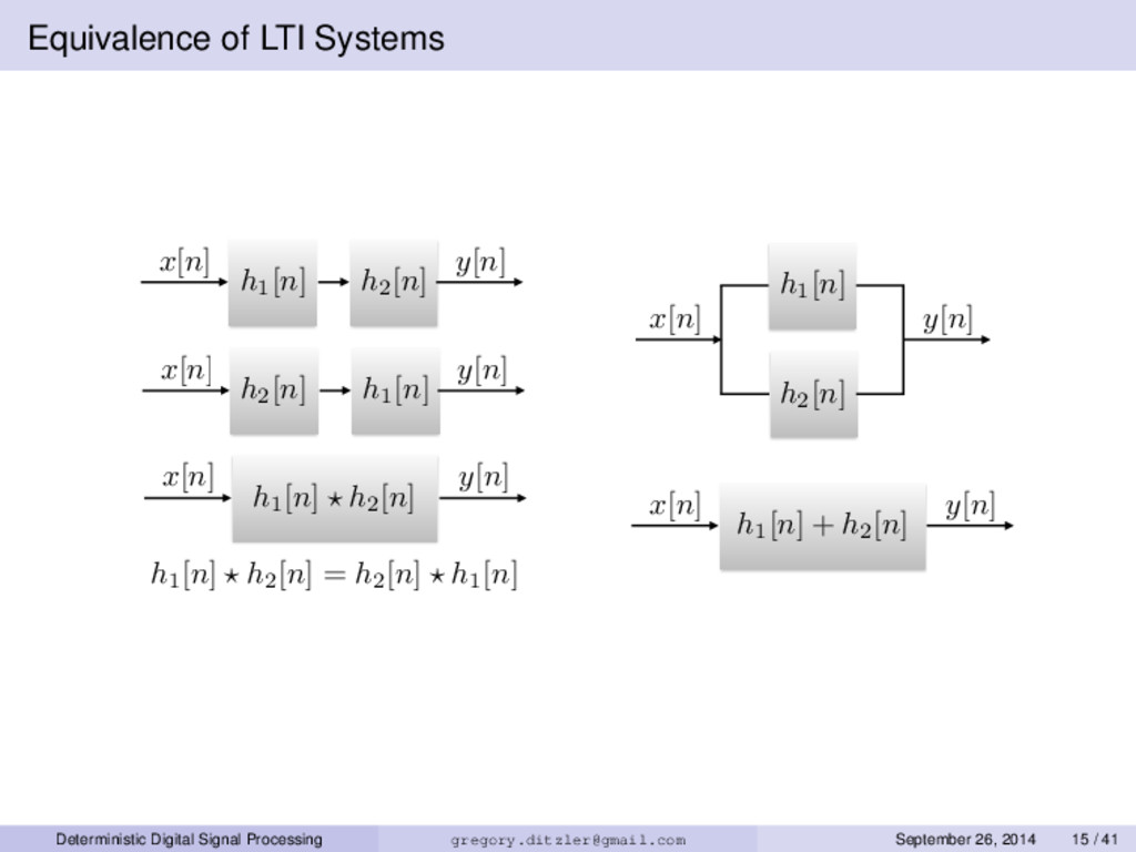 Equivalence of LTI Systems x[n] y[n] h1 [n] h2 ...