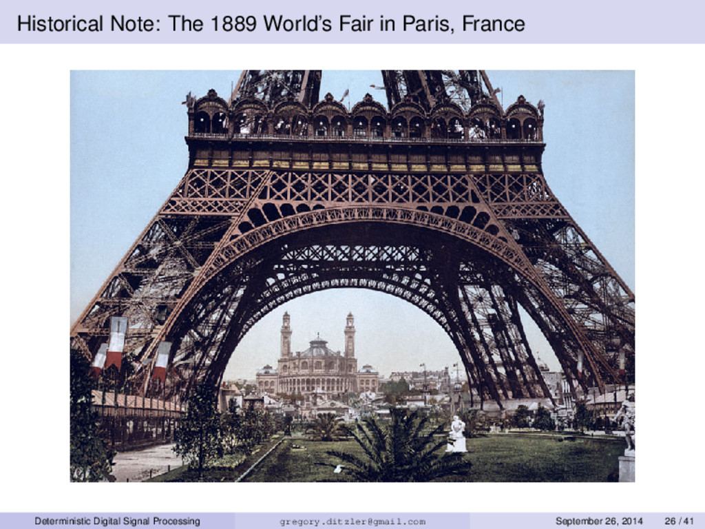 Historical Note: The 1889 World's Fair in Paris...