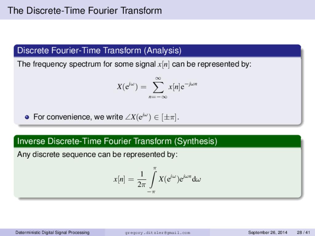 The Discrete-Time Fourier Transform Discrete Fo...