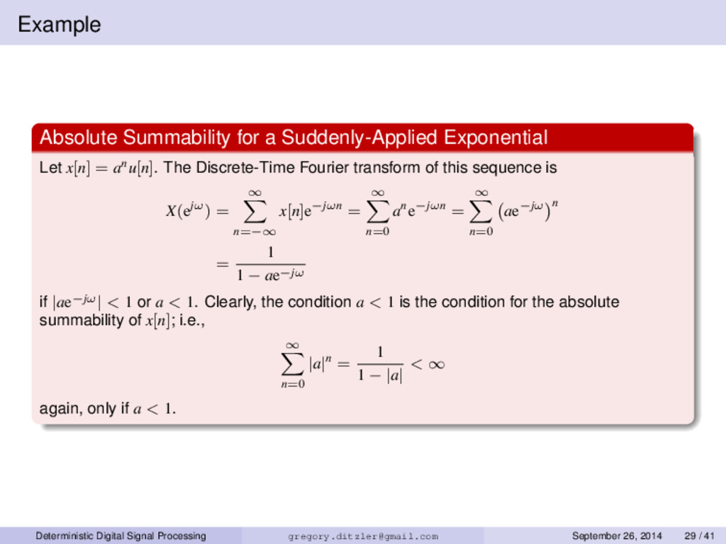 Example Absolute Summability for a Suddenly-App...
