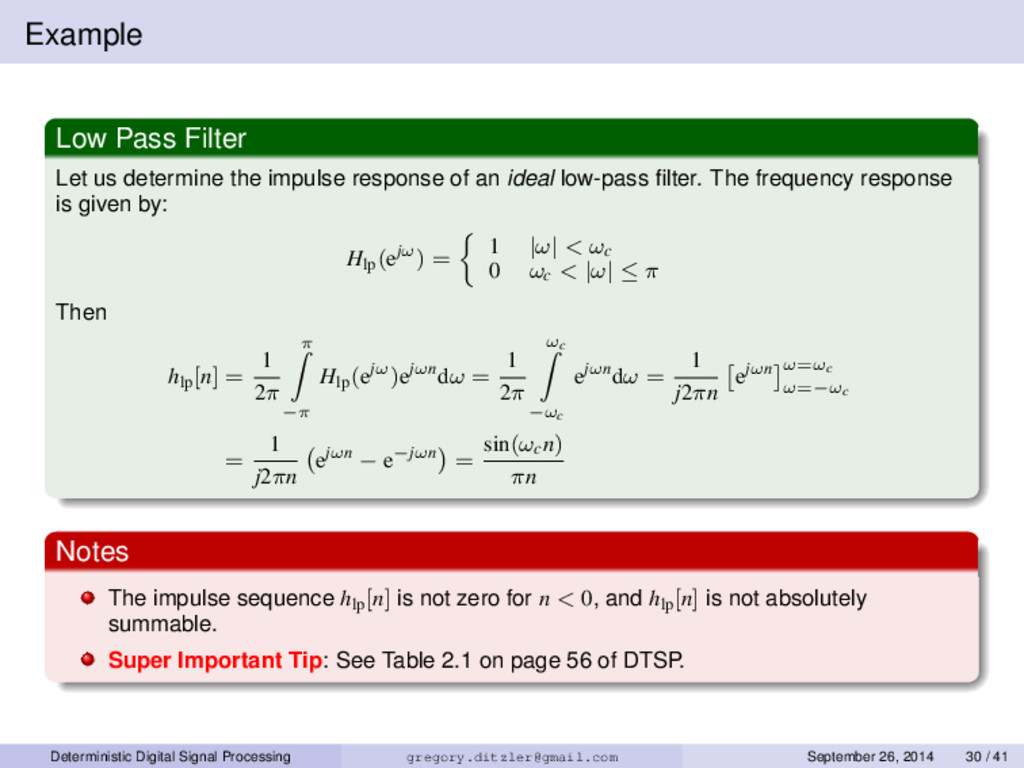 Example Low Pass Filter Let us determine the im...