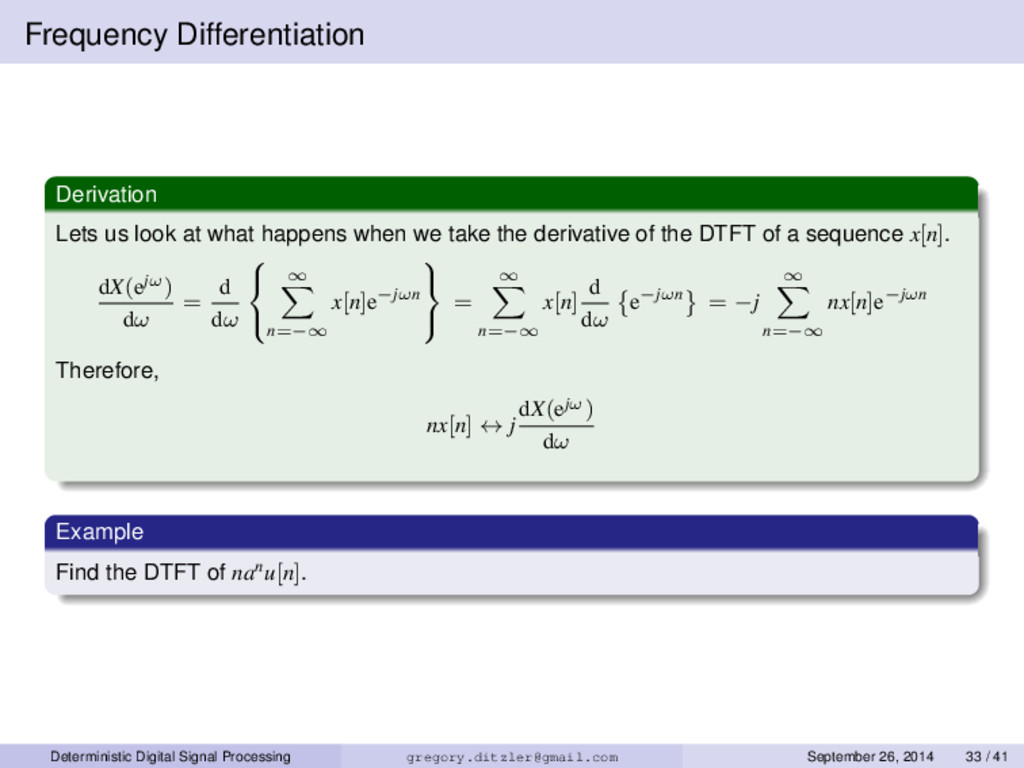 Frequency Differentiation Derivation Lets us lo...