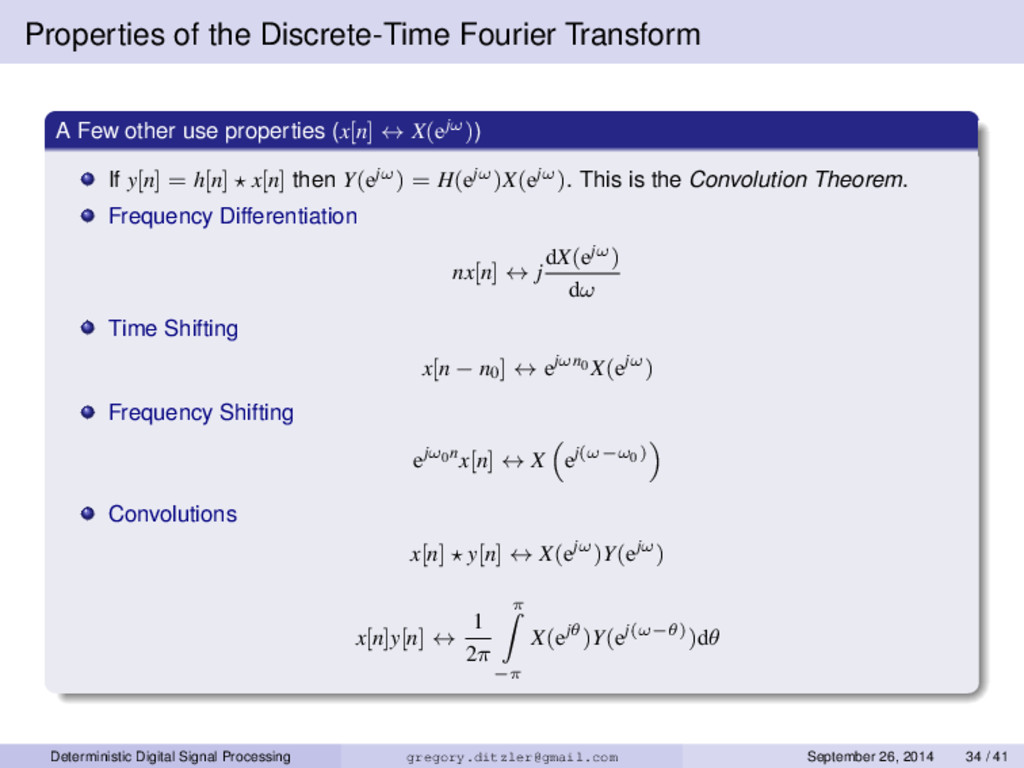 Properties of the Discrete-Time Fourier Transfo...