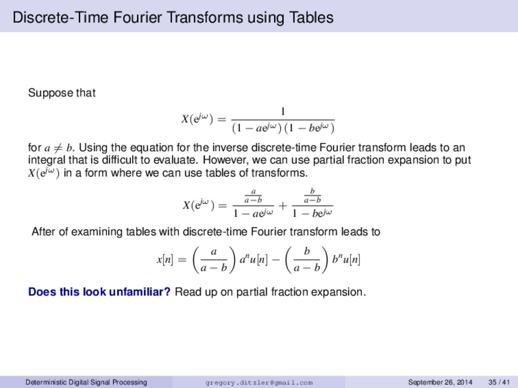 Discrete-Time Fourier Transforms using Tables S...