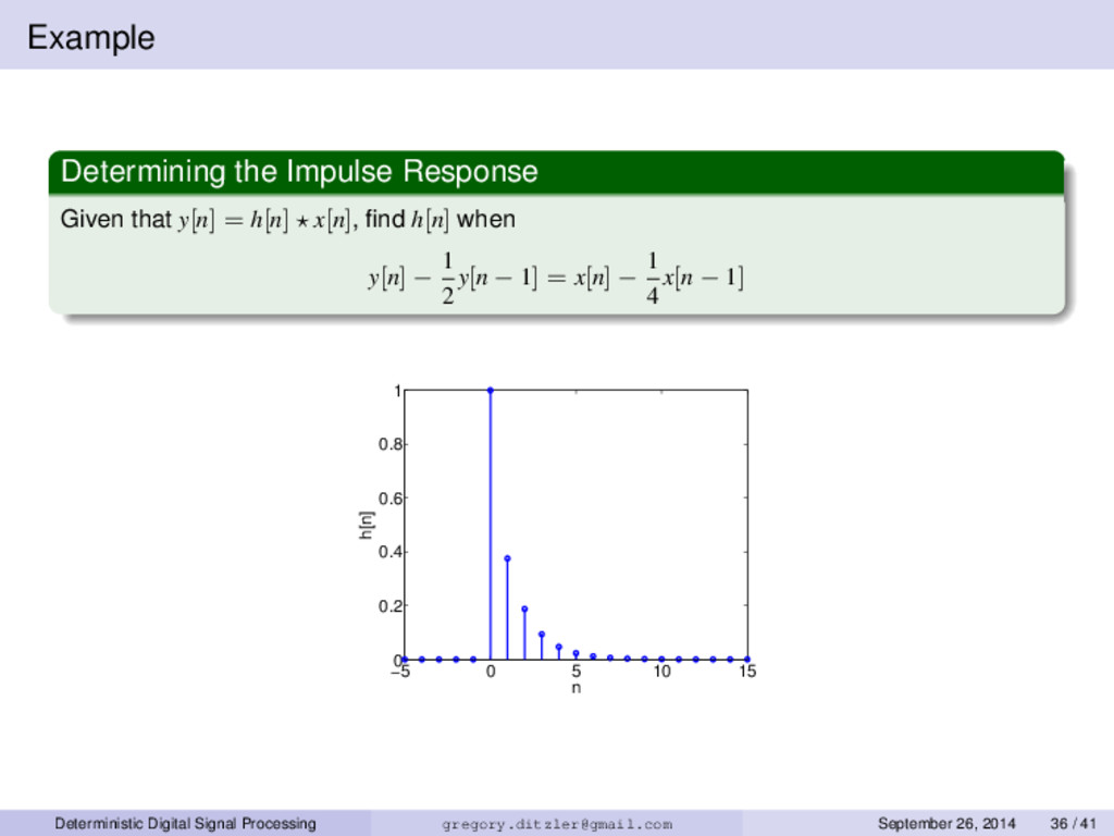 Example Determining the Impulse Response Given ...