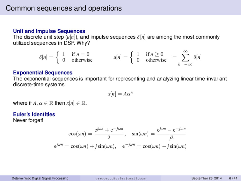 Common sequences and operations Unit and Impuls...