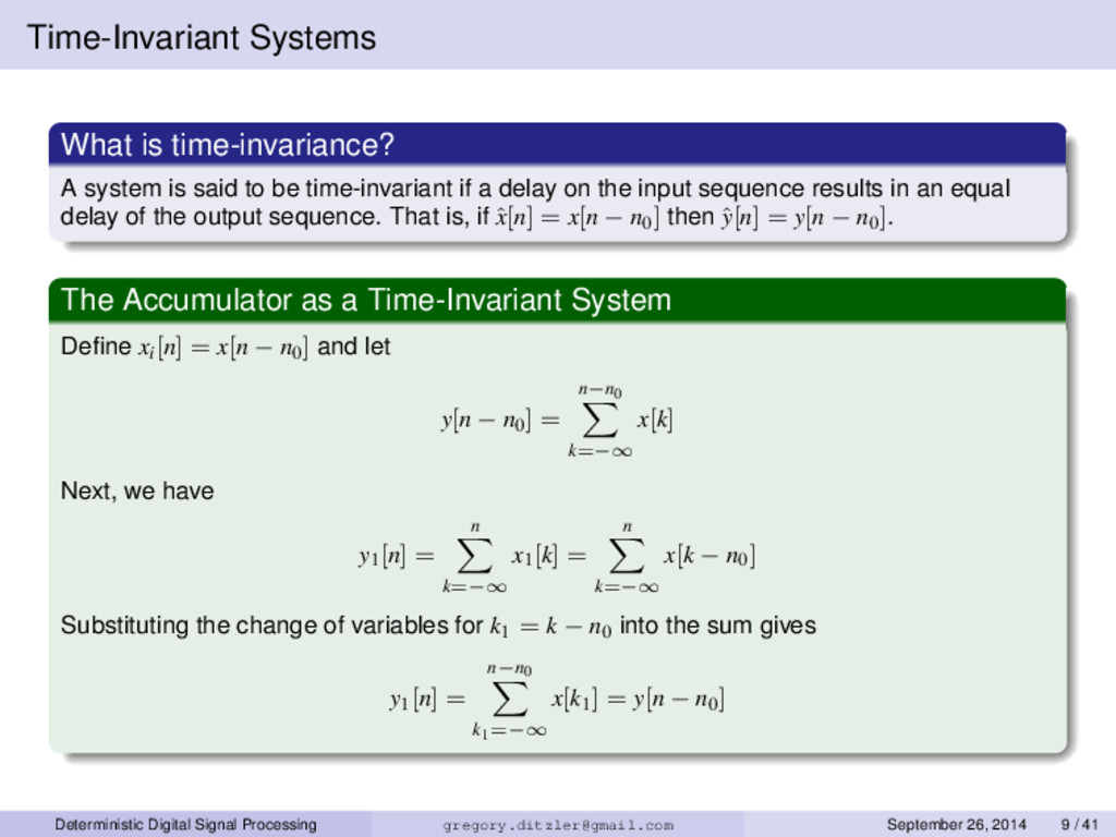 Time-Invariant Systems What is time-invariance?...