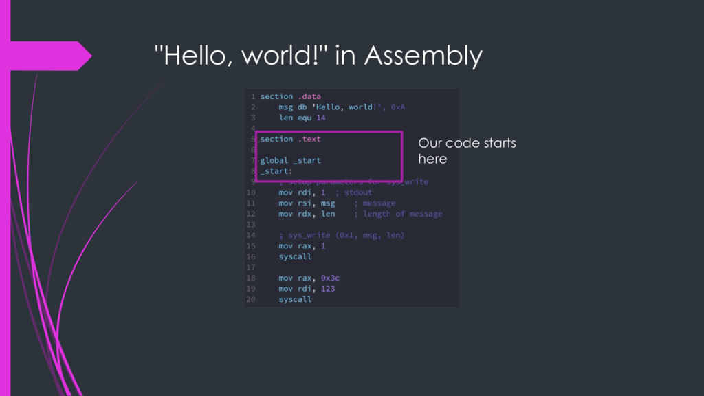 """Hello, world!"" in Assembly Our code starts here"