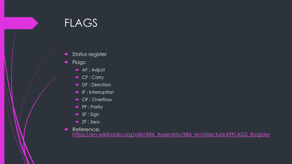 FLAGS ´ Status register ´ Flags: ´ AF : Adjust ...