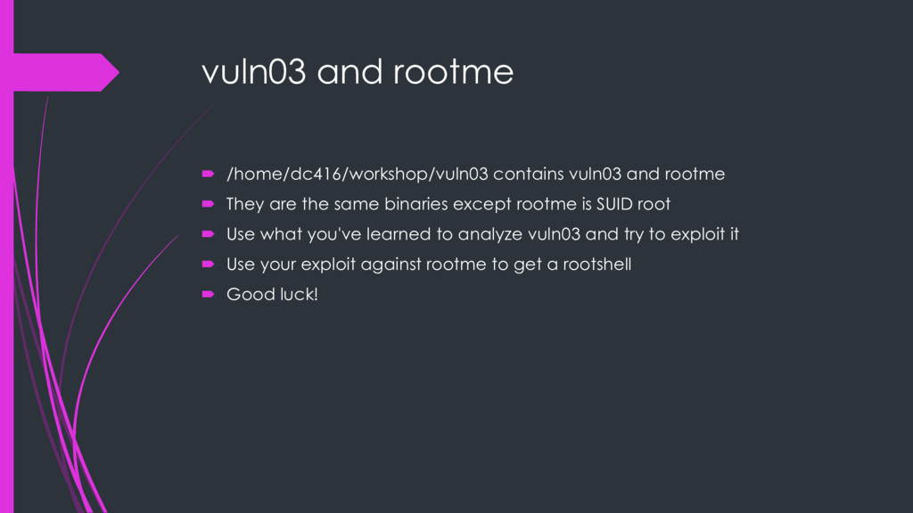 vuln03 and rootme ´ /home/dc416/workshop/vuln03...