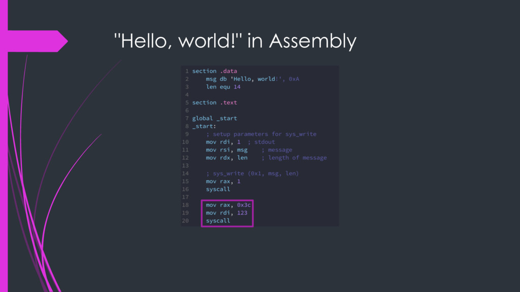 """Hello, world!"" in Assembly"