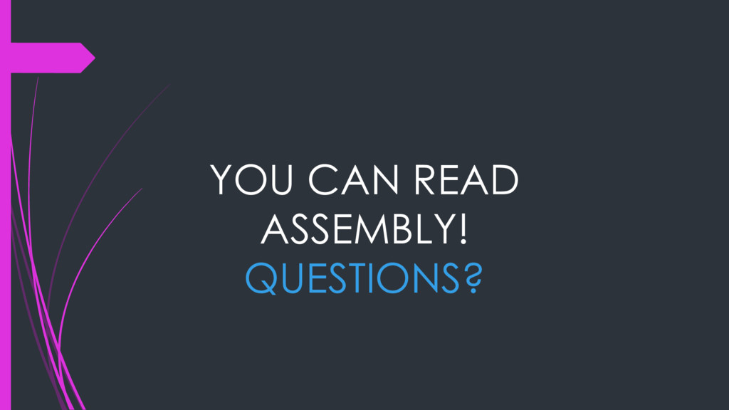 YOU CAN READ ASSEMBLY! QUESTIONS?