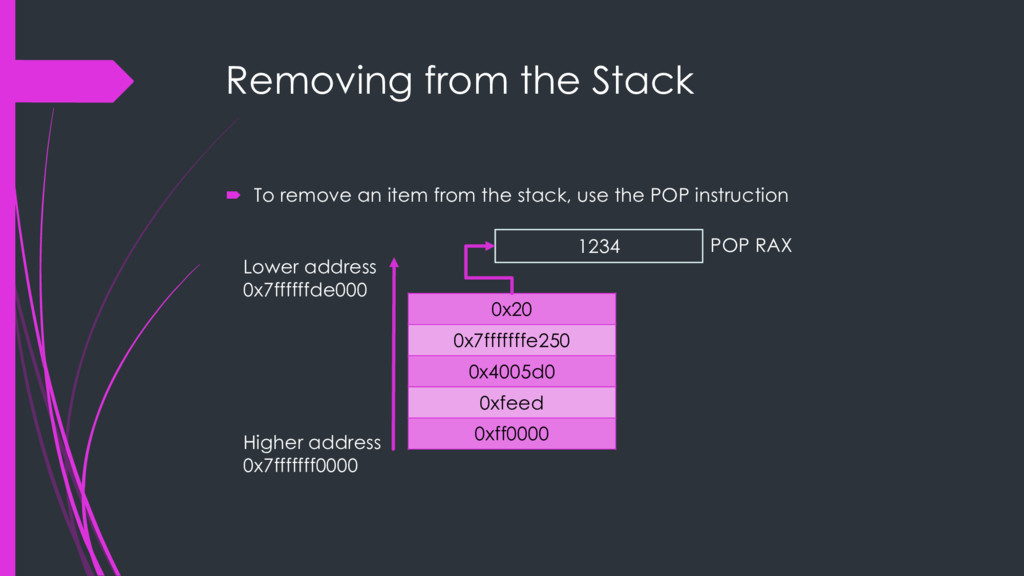 Removing from the Stack ´ To remove an item fro...