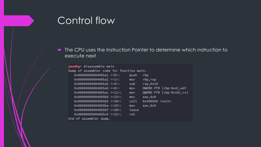 Control flow ´ The CPU uses the Instruction Poi...