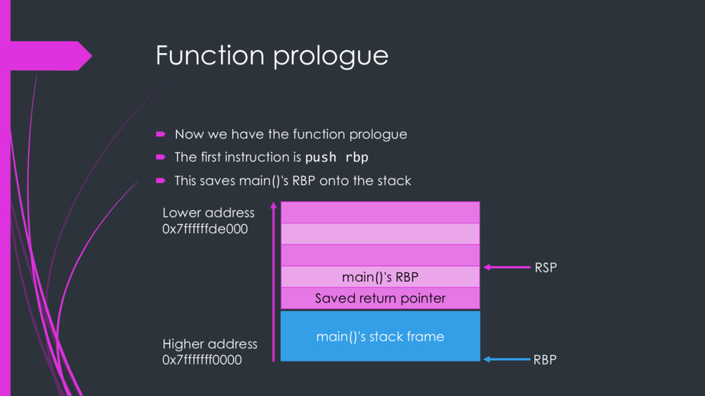 Function prologue ´ Now we have the function pr...