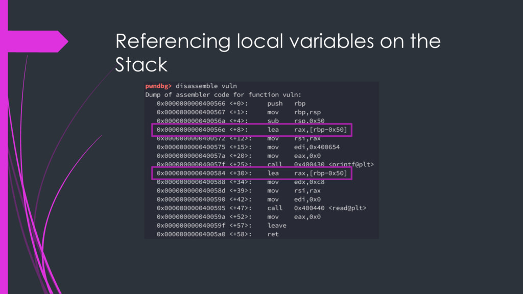 Referencing local variables on the Stack