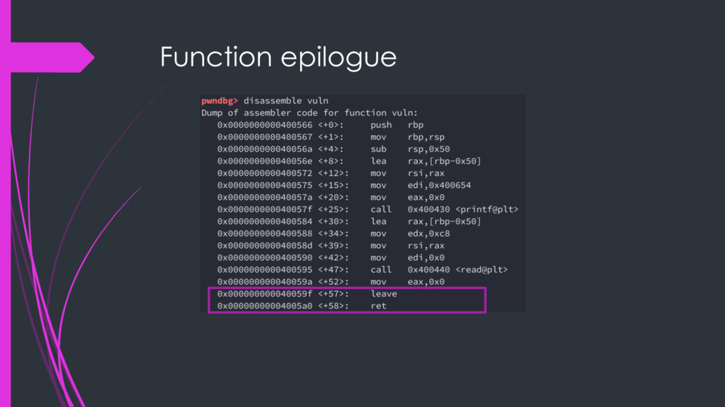 Function epilogue