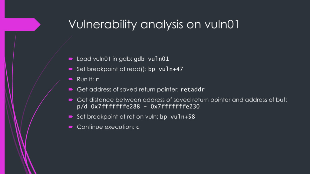 Vulnerability analysis on vuln01 ´ Load vuln01 ...