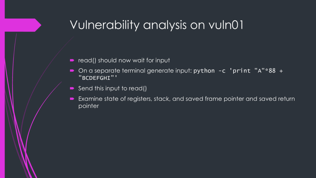 Vulnerability analysis on vuln01 ´ read() shoul...
