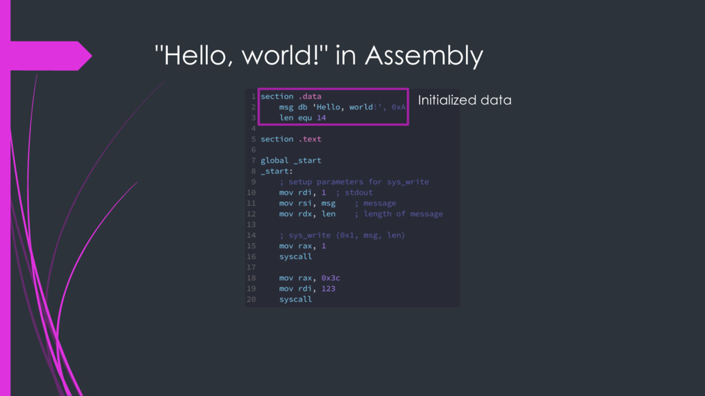 """Hello, world!"" in Assembly Initialized data"