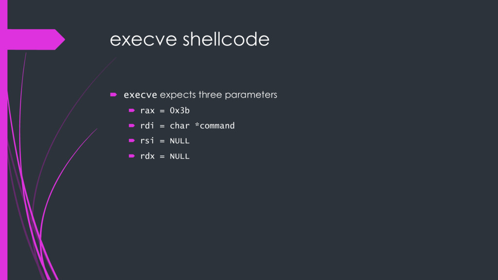 execve shellcode ´ execve expects three paramet...