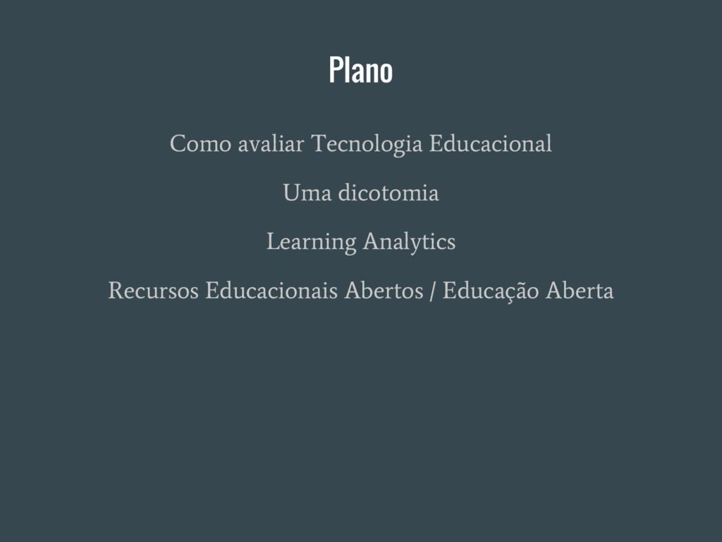 Plano Como avaliar Tecnologia Educacional Uma d...