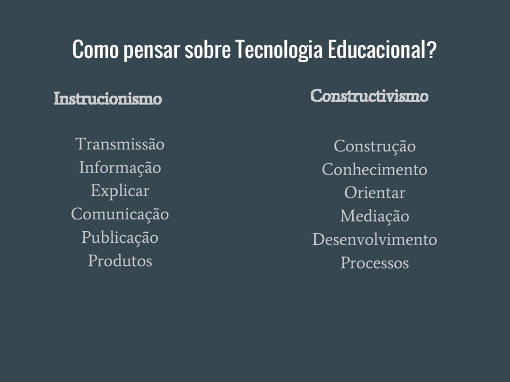 Como pensar sobre Tecnologia Educacional? Trans...