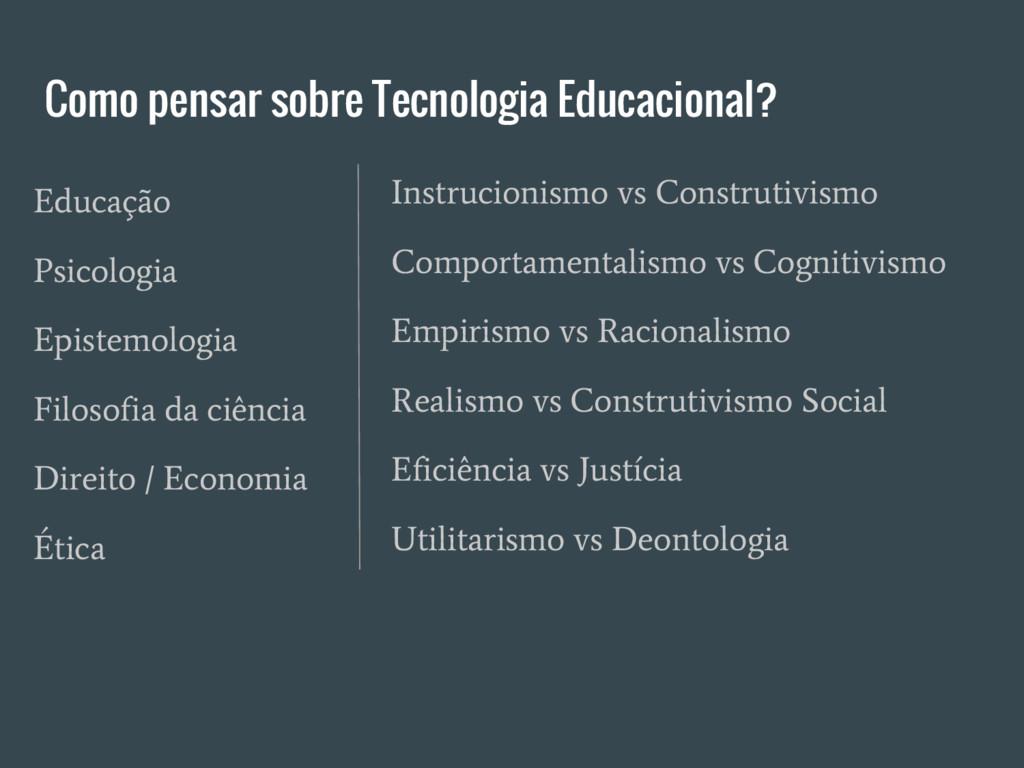 Como pensar sobre Tecnologia Educacional? Instr...