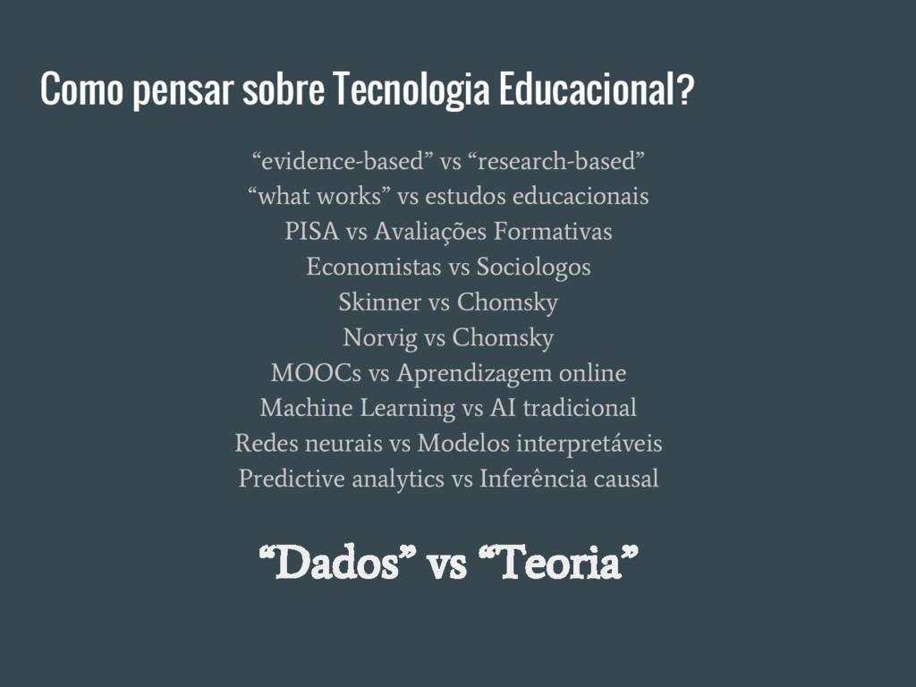 """Como pensar sobre Tecnologia Educacional? """"evid..."""