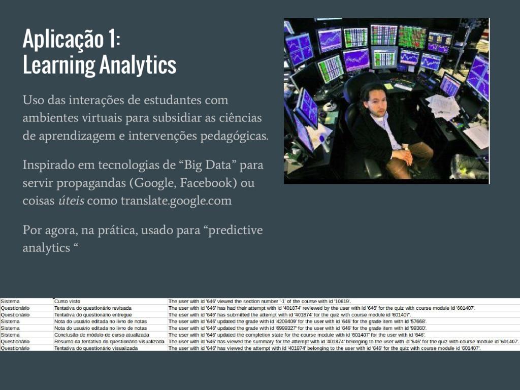 Aplicação 1: Learning Analytics Uso das interaç...