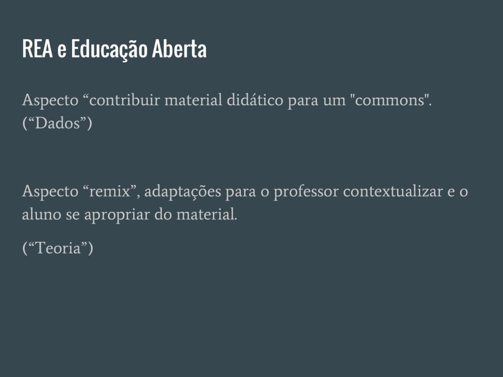 """REA e Educação Aberta Aspecto """"contribuir mater..."""