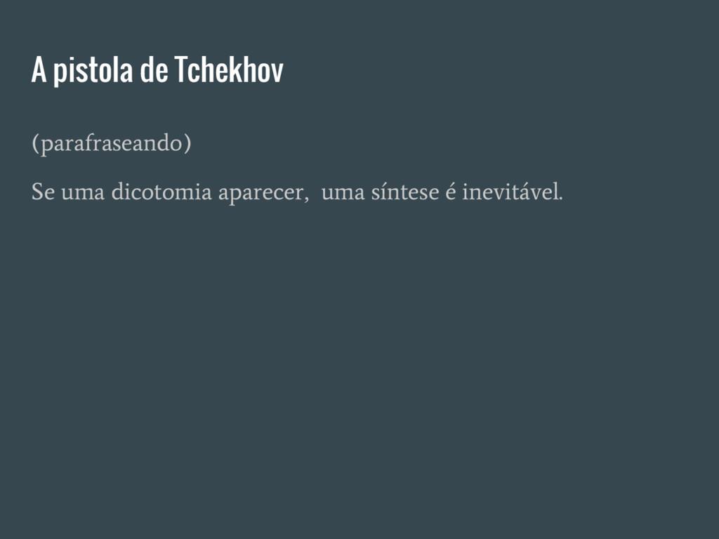 A pistola de Tchekhov (parafraseando) Se uma di...