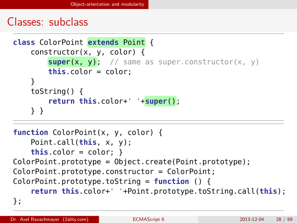 Object-orientation and modularity Classes: subc...