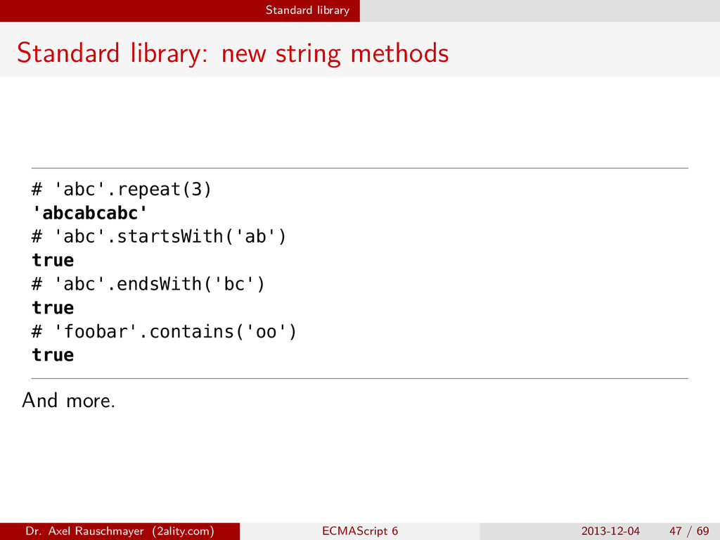 Standard library Standard library: new string m...