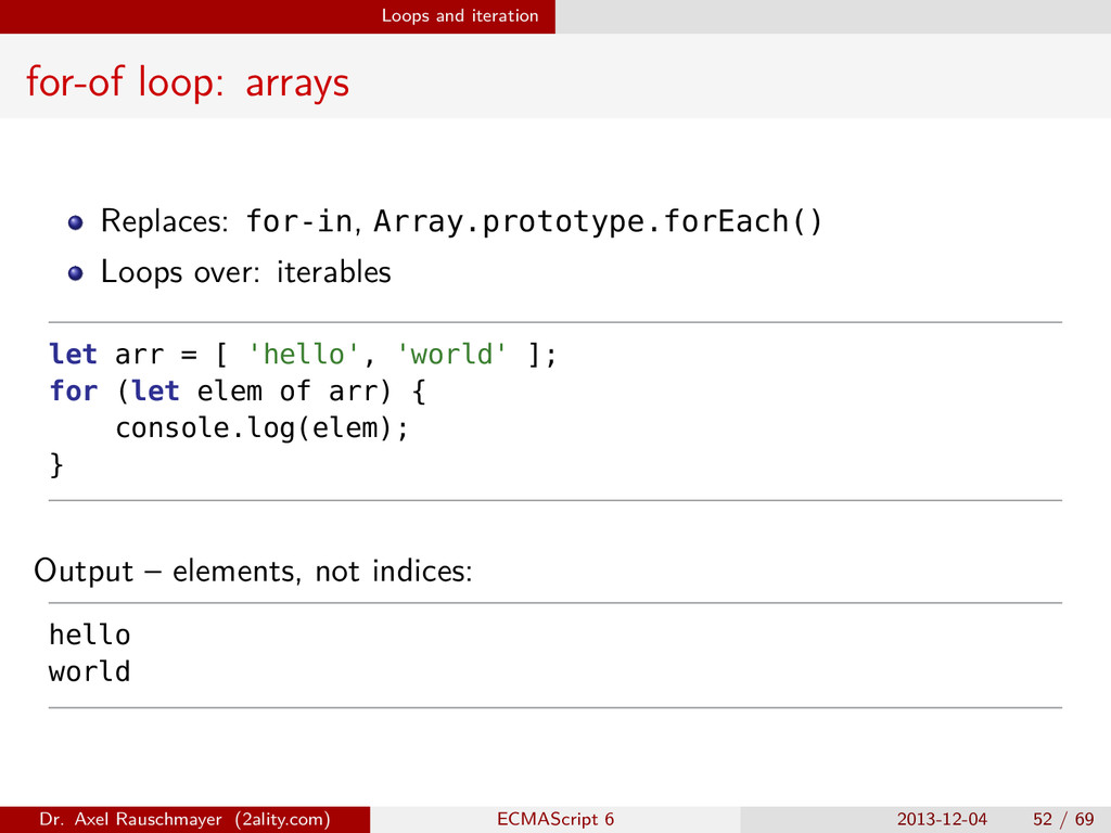 Loops and iteration for-of loop: arrays Replace...