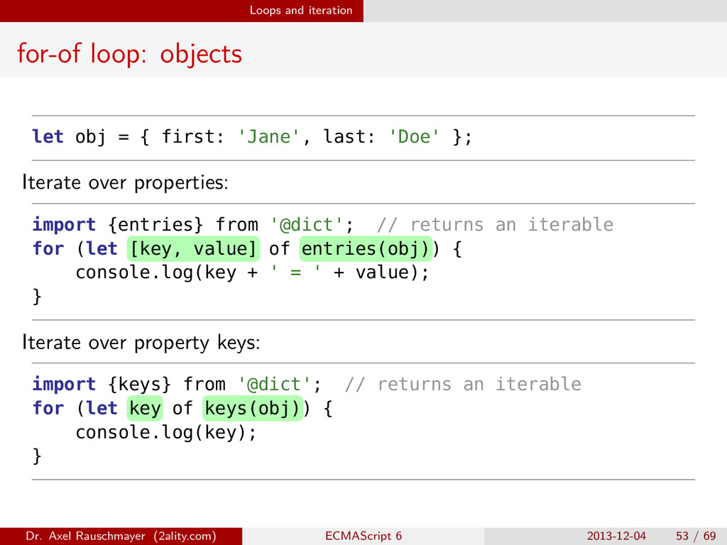 Loops and iteration for-of loop: objects let ob...