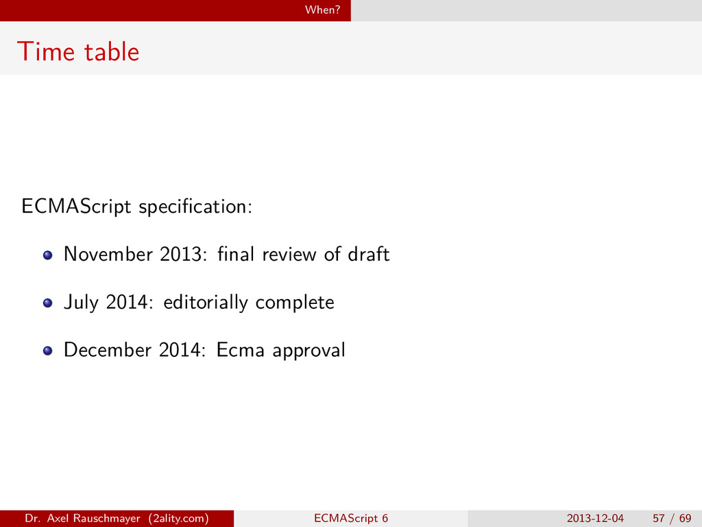 When? Time table ECMAScript specification: Novem...