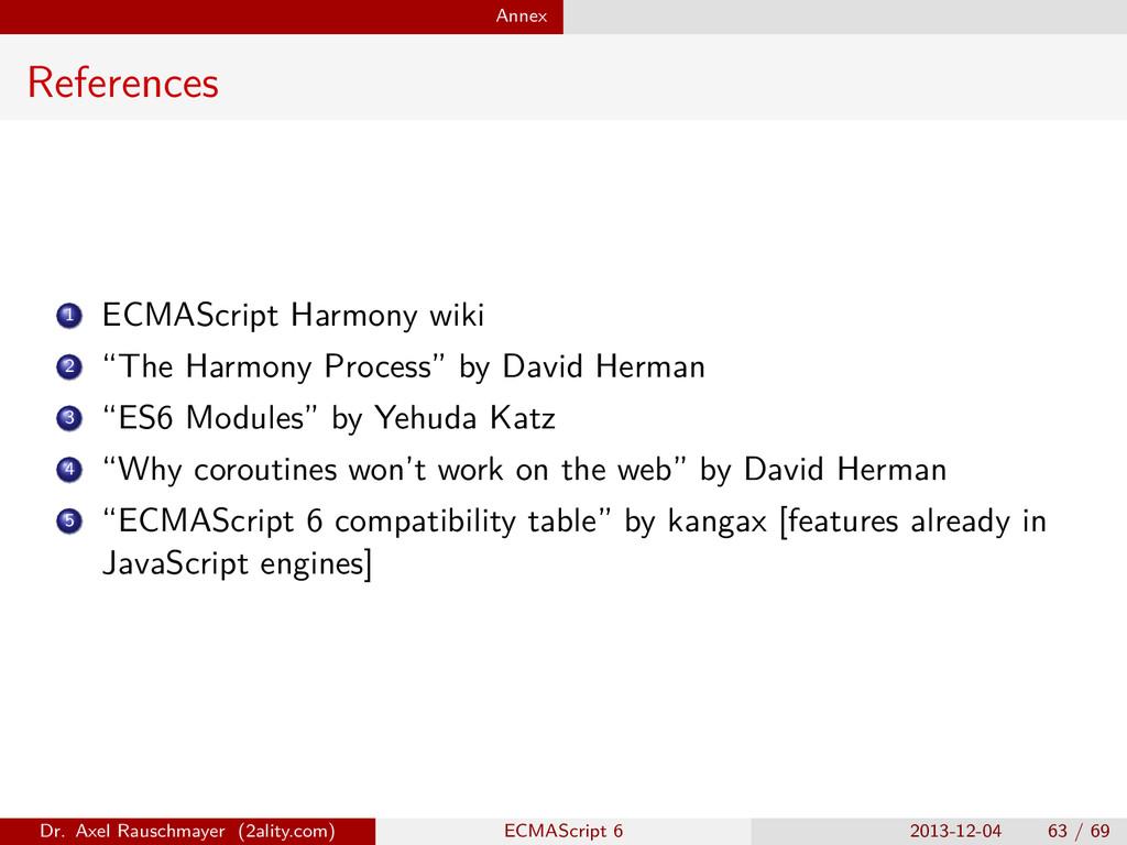 "Annex References 1 ECMAScript Harmony wiki 2 ""T..."