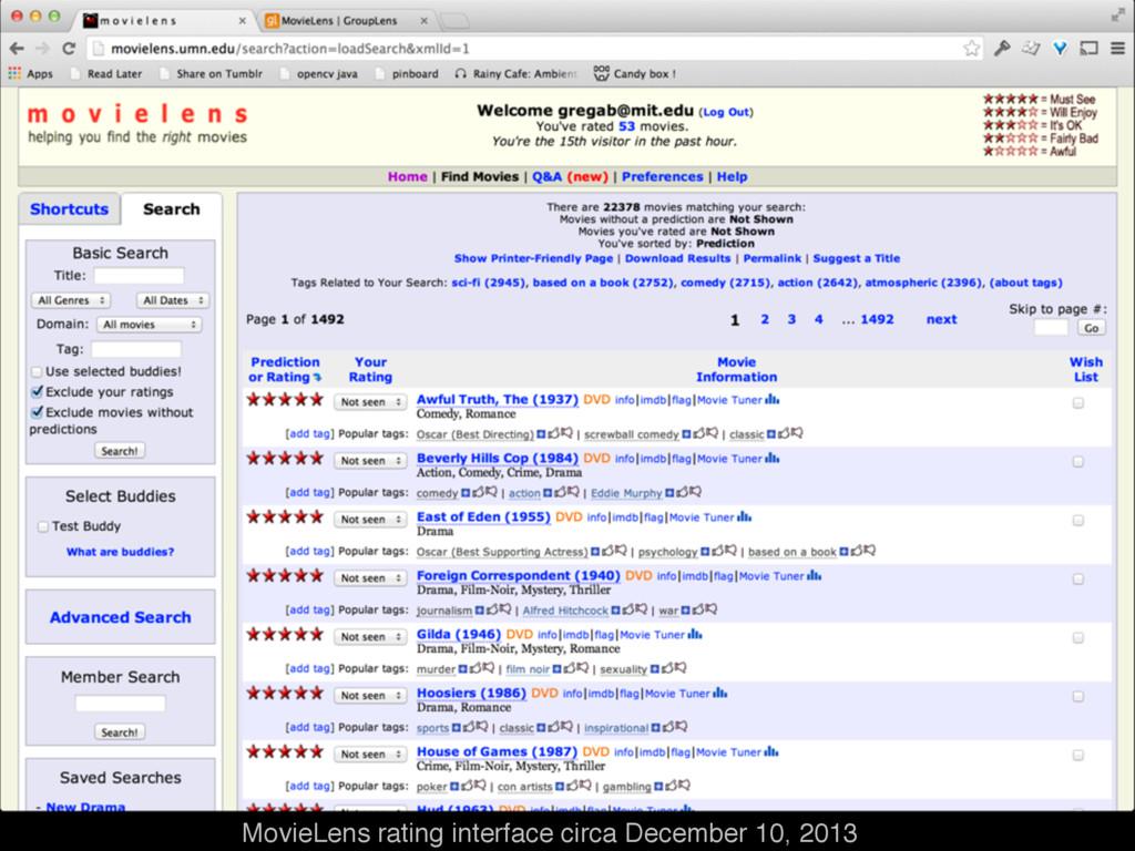 MovieLens rating interface circa December 10, 2...