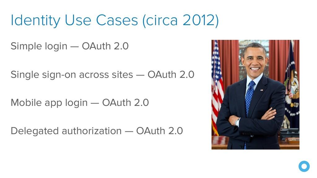 Identity Use Cases (circa 2012) Simple login — ...