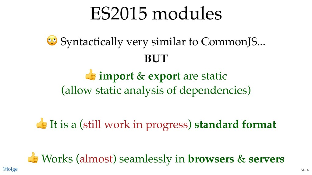 ES2015 modules ES2015 modules Syntactically ver...