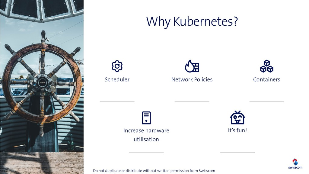 Why Kubernetes? 11 Scheduler Increase hardware ...